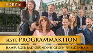 Oben, v.l.: Marzel Becker (Radio Hamburg), Torsten Engel (NDR 2), Norbert Grundei (N-JOY), Christian Gilly (HAMBURG ZWEI); Unten: v.l.: Maren Bockholdt (alsterradio rock'n pop), Ralph Eichmann (NDR 90,3), Anna-Lena Ehle (Radio ENERGY), Hannes Erdmann (917XFM) © Hamburger Radiobündnis gegen Fremdenhass